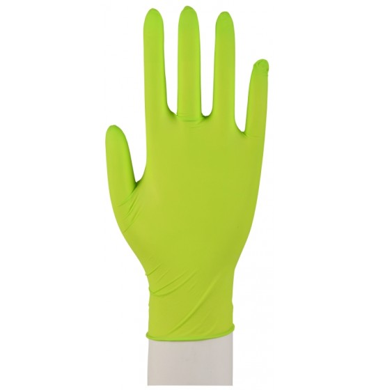 Nitrylowe rękawice, zielone