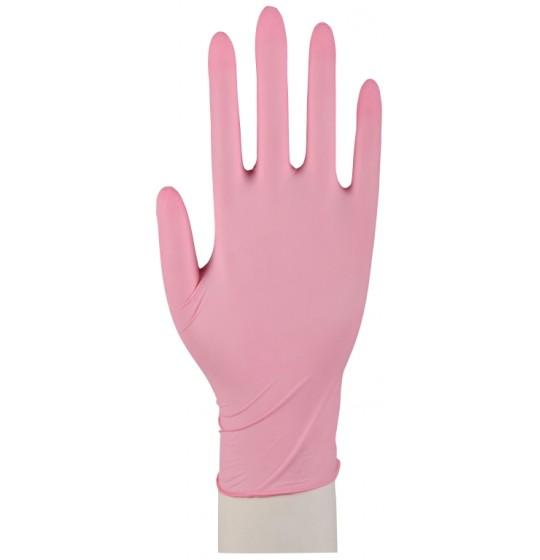 Nitrylowe rękawice, różowe